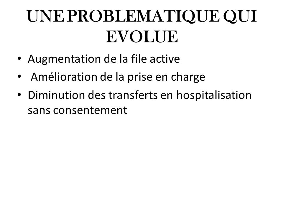 UNE PROBLEMATIQUE QUI EVOLUE