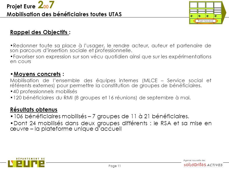 Projet Eure 2007 Mobilisation des bénéficiaires toutes UTAS