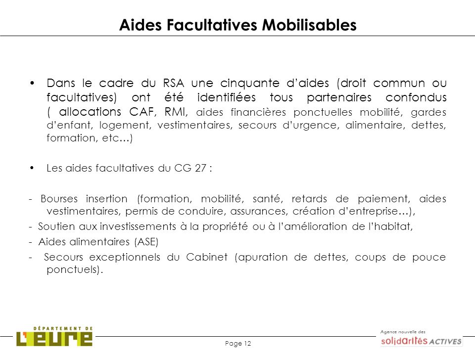 Aides Facultatives Mobilisables