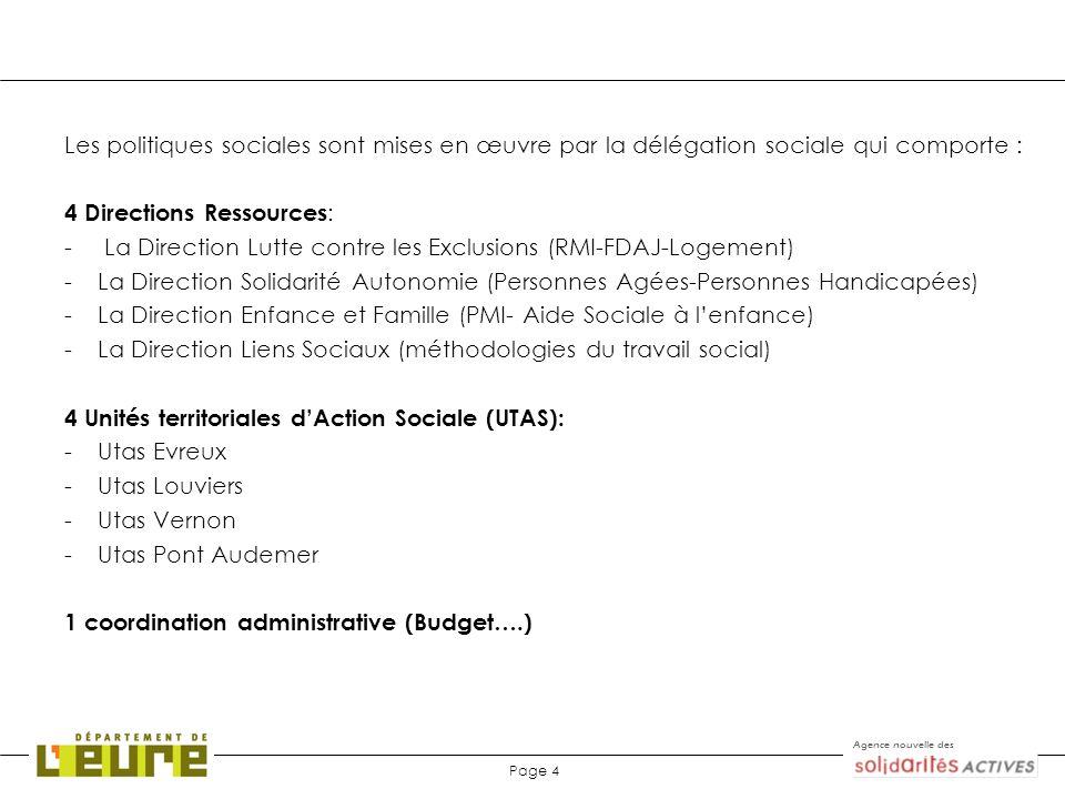 Les politiques sociales sont mises en œuvre par la délégation sociale qui comporte :
