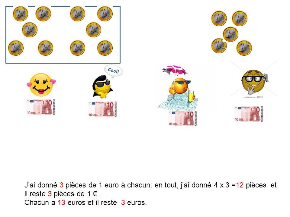 J'ai donné 3 pièces de 1 euro à chacun; en tout, j'ai donné 4 x 3 =12 pièces et il reste 3 pièces de 1 € .