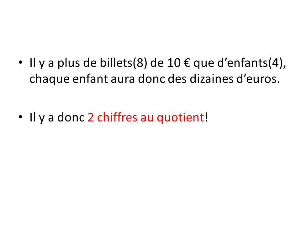 Il y a plus de billets(8) de 10 € que d'enfants(4), chaque enfant aura donc des dizaines d'euros.