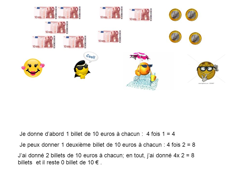 Je donne d'abord 1 billet de 10 euros à chacun : 4 fois 1 = 4