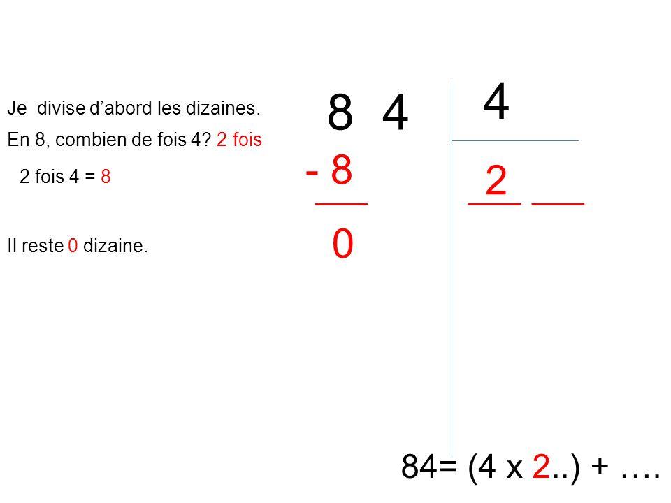 4 8 4 - 8 2 84= (4 x 2..) + …. Je divise d'abord les dizaines.