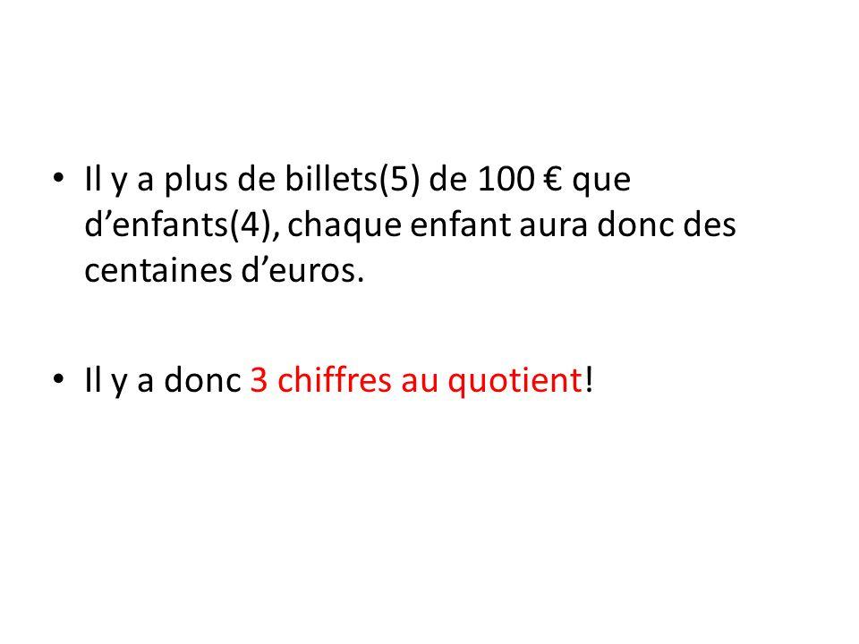 Il y a plus de billets(5) de 100 € que d'enfants(4), chaque enfant aura donc des centaines d'euros.