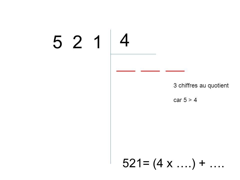 4 5 2 1 3 chiffres au quotient car 5 > 4 521= (4 x ….) + ….