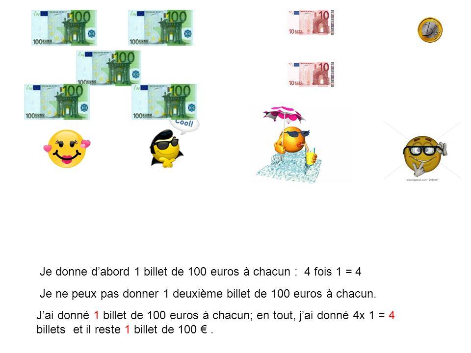 Je donne d'abord 1 billet de 100 euros à chacun : 4 fois 1 = 4