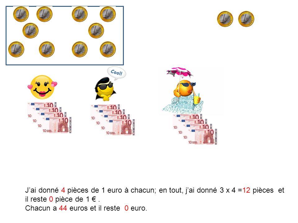J'ai donné 4 pièces de 1 euro à chacun; en tout, j'ai donné 3 x 4 =12 pièces et il reste 0 pièce de 1 € .
