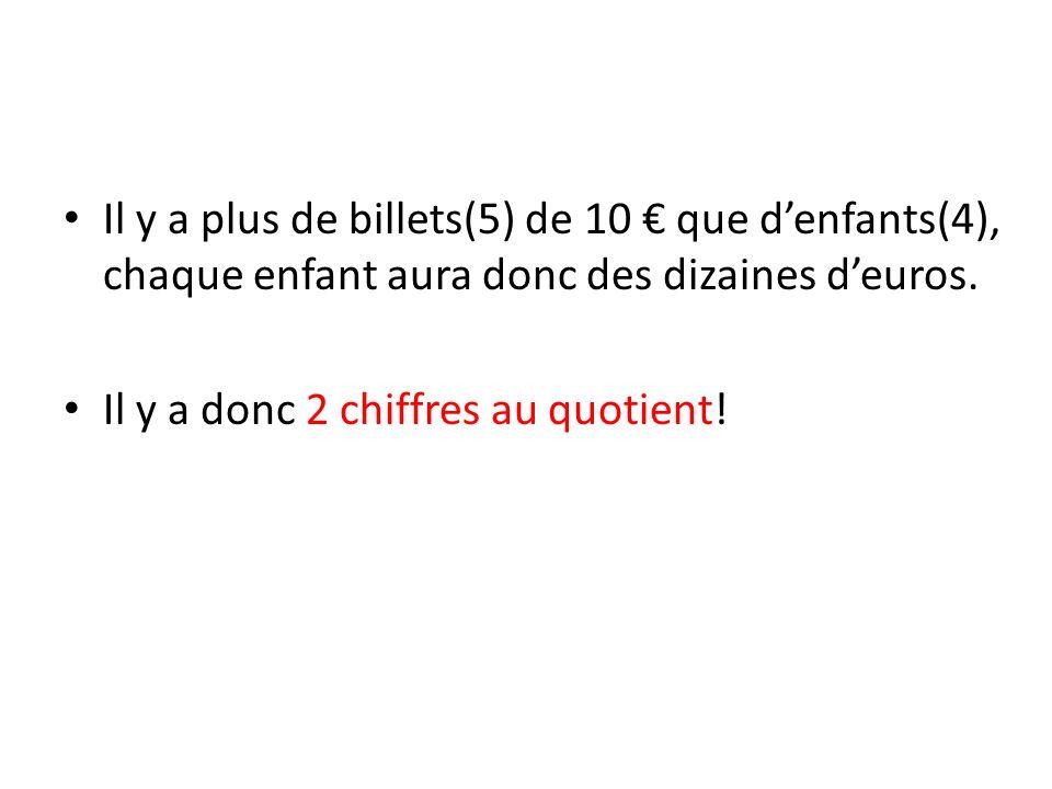 Il y a plus de billets(5) de 10 € que d'enfants(4), chaque enfant aura donc des dizaines d'euros.