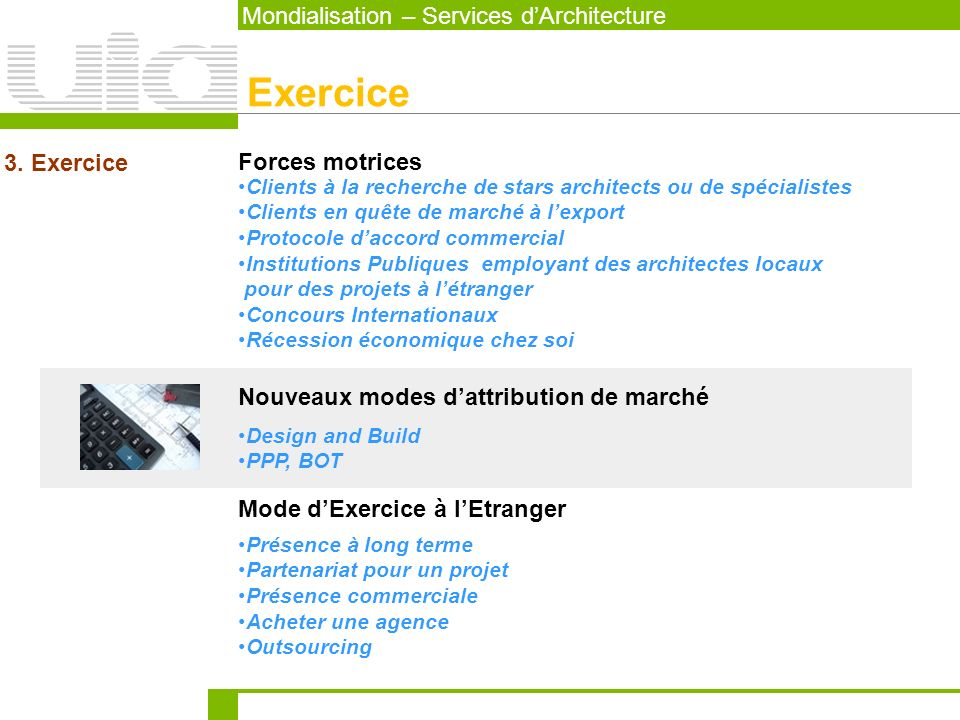 Exercice Mondialisation – Services d'Architecture 3. Exercice