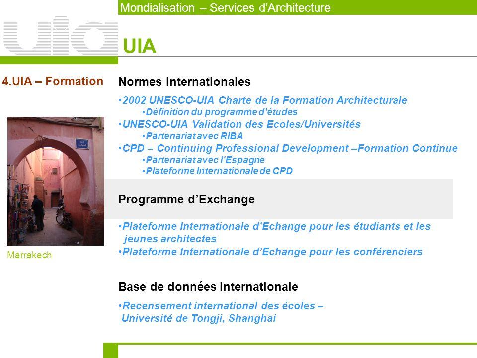 UIA Mondialisation – Services d'Architecture 4.UIA – Formation