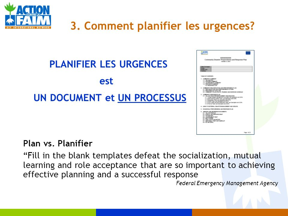 3. Comment planifier les urgences