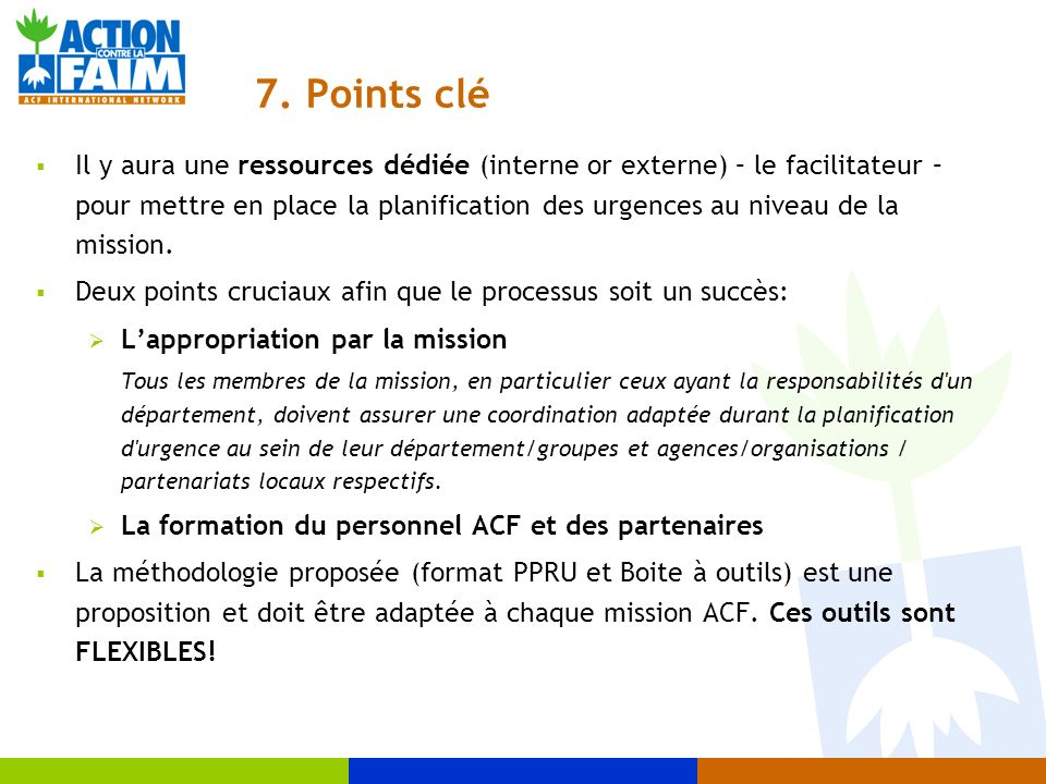 7. Points clé