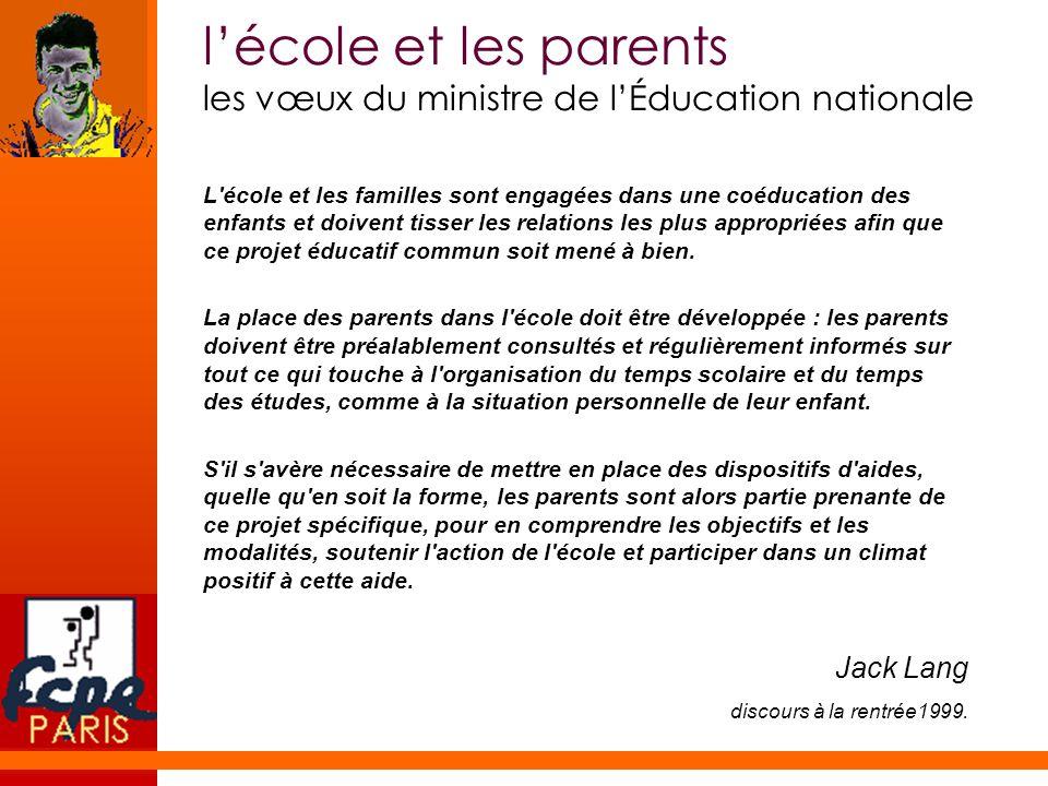 l'école et les parents les vœux du ministre de l'Éducation nationale