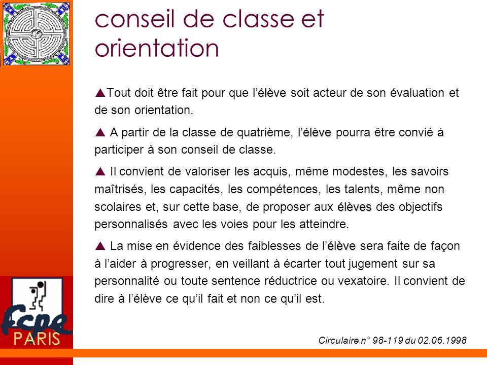 conseil de classe et orientation