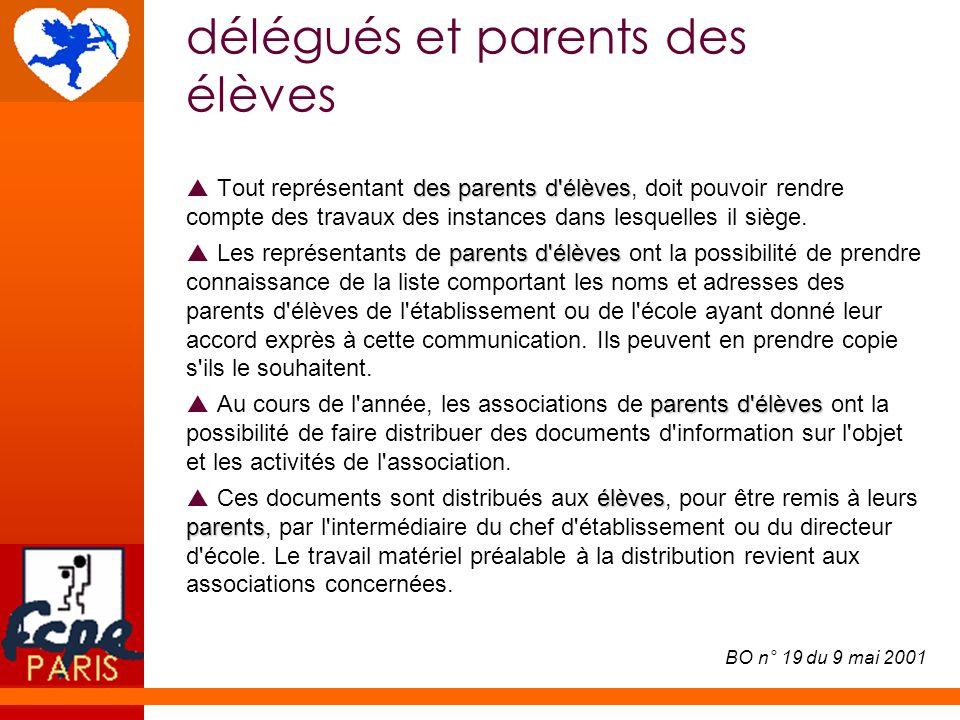 délégués et parents des élèves