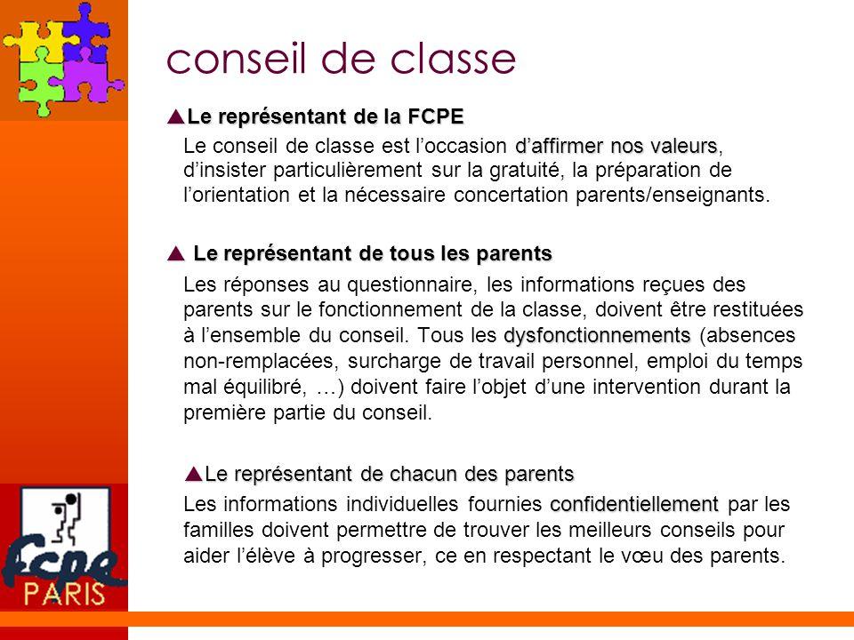 conseil de classe Le représentant de la FCPE