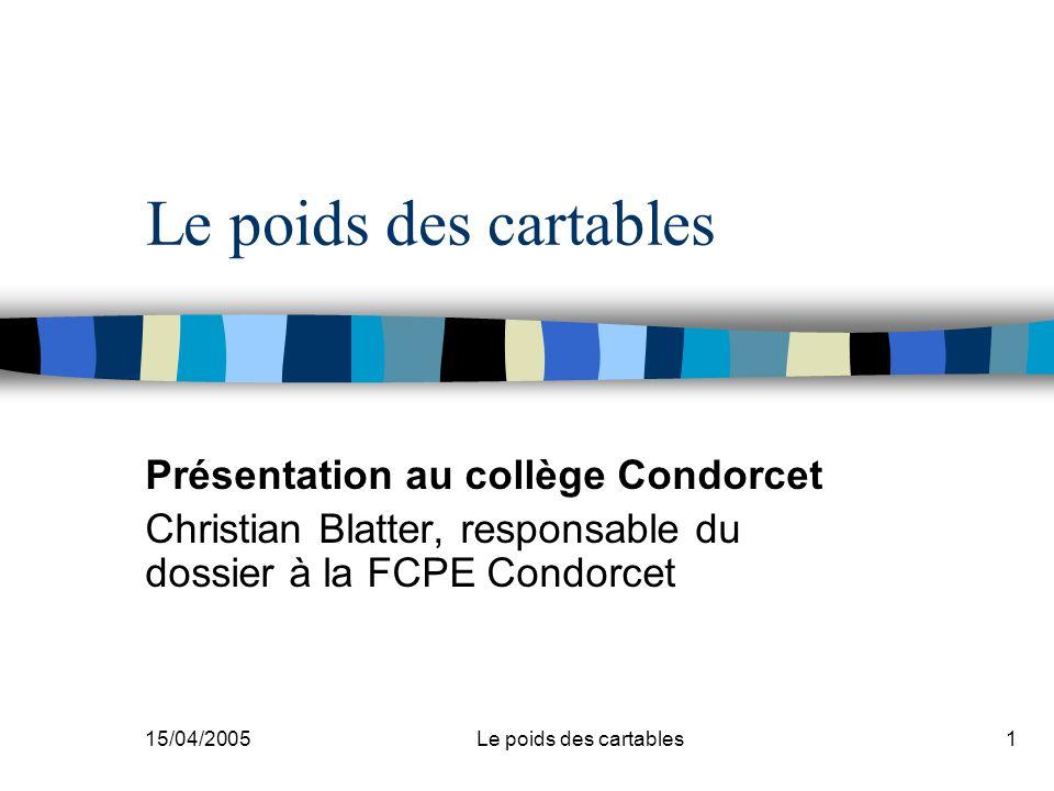 Le poids des cartables Présentation au collège Condorcet