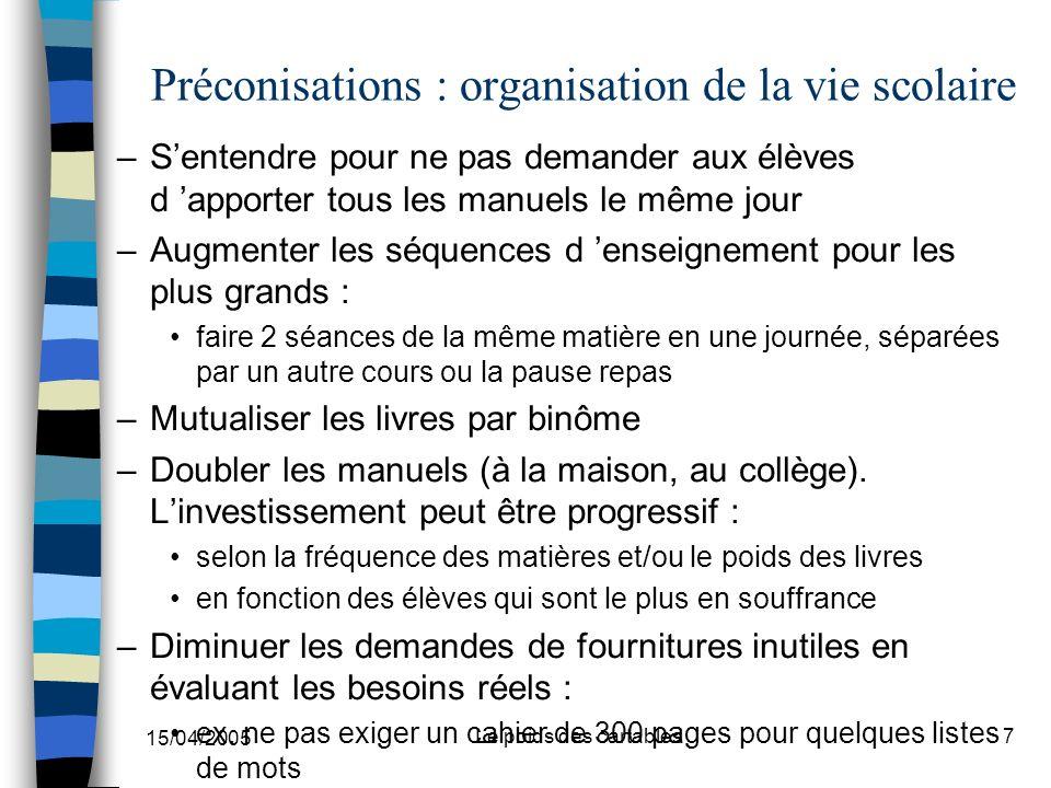 Préconisations : organisation de la vie scolaire