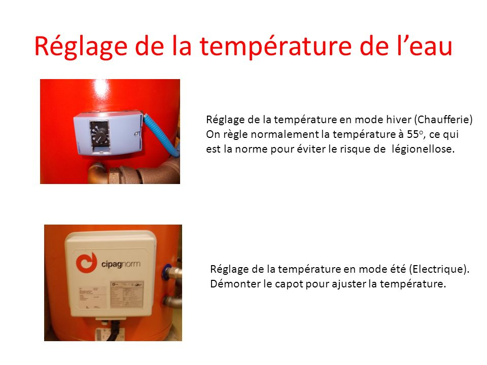 Réglage de la température de l'eau