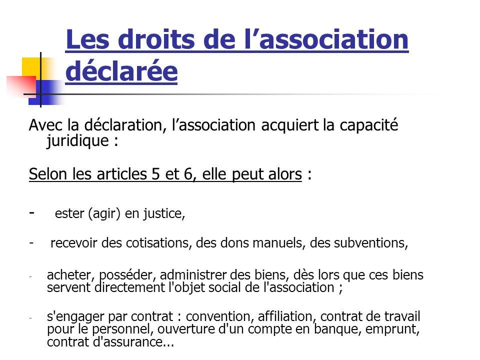 Les droits de l'association déclarée