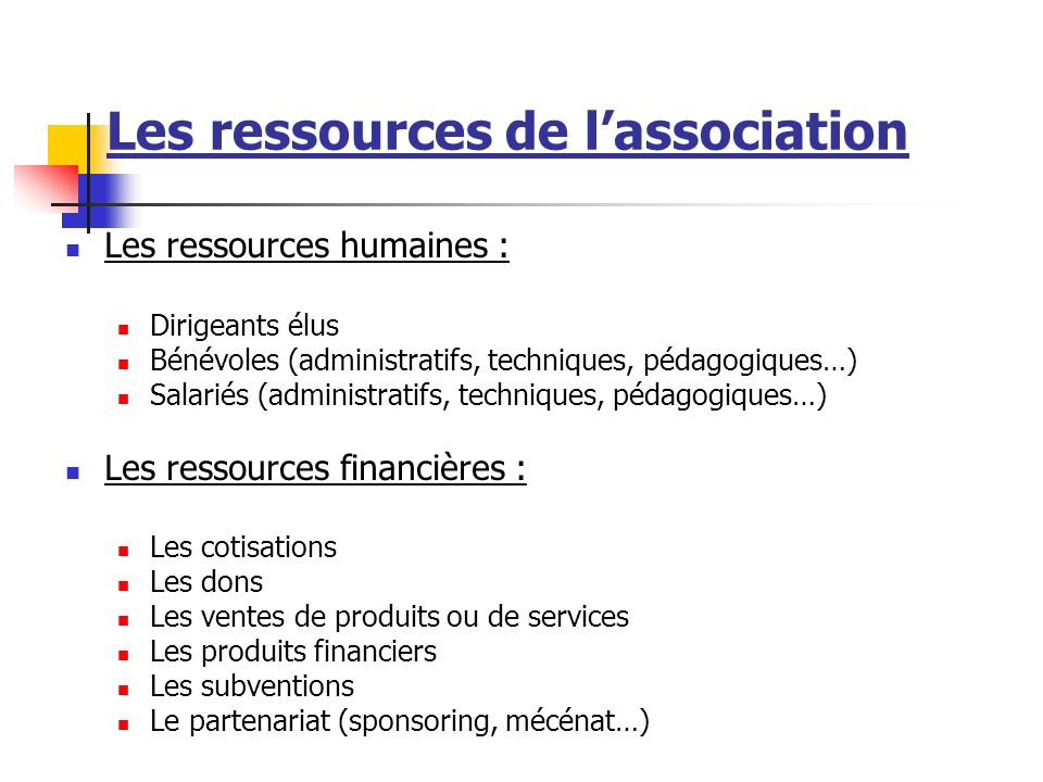 Les ressources de l'association