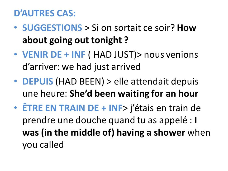 D'AUTRES CAS: SUGGESTIONS > Si on sortait ce soir How about going out tonight