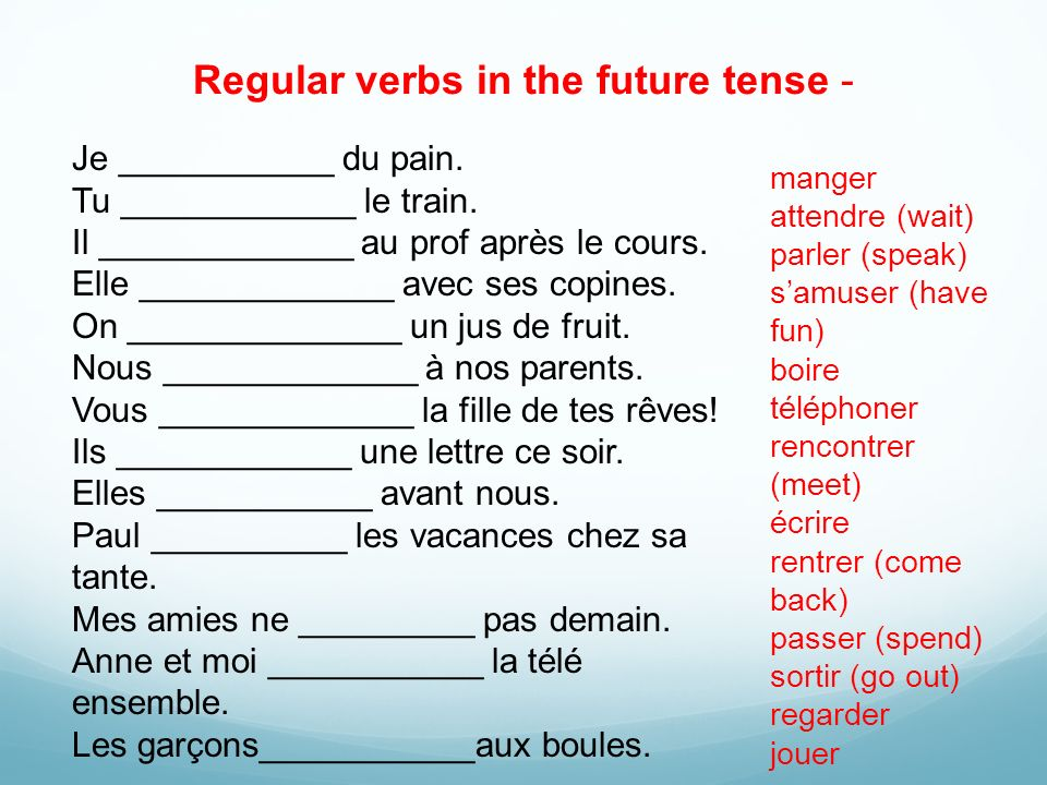 Regular verbs in the future tense -