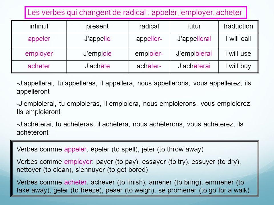 Les verbes qui changent de radical : appeler, employer, acheter