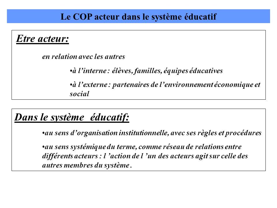 Le COP acteur dans le système éducatif