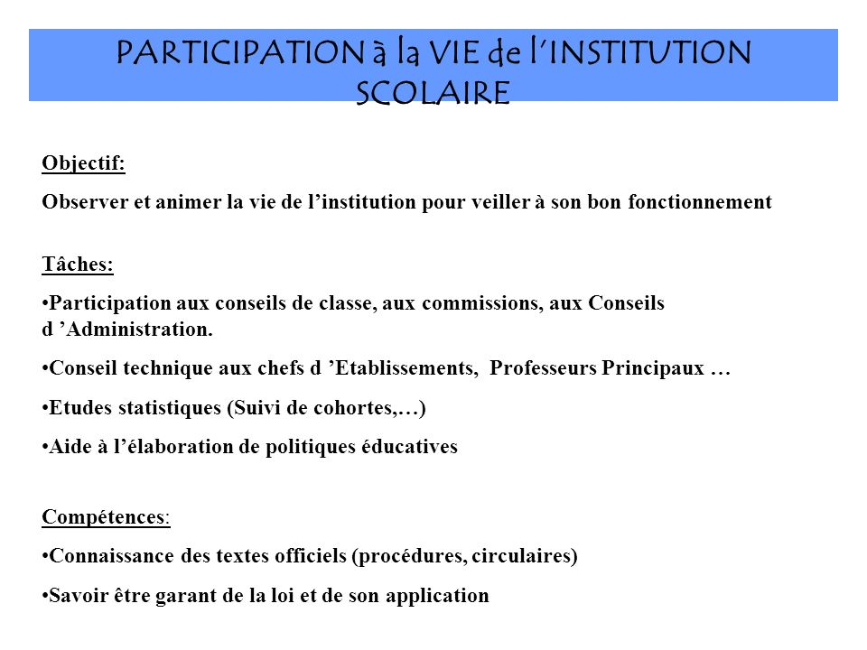 PARTICIPATION à la VIE de l'INSTITUTION SCOLAIRE