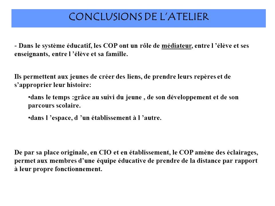 CONCLUSIONS DE L'ATELIER