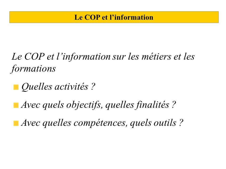 Le COP et l'information