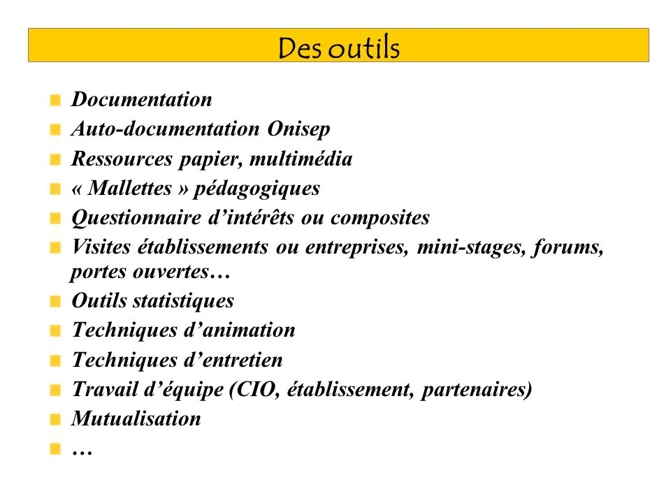 Des outils Documentation Auto-documentation Onisep