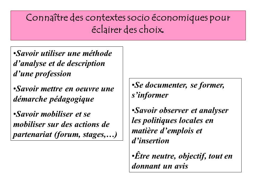 Connaître des contextes socio économiques pour éclairer des choix.