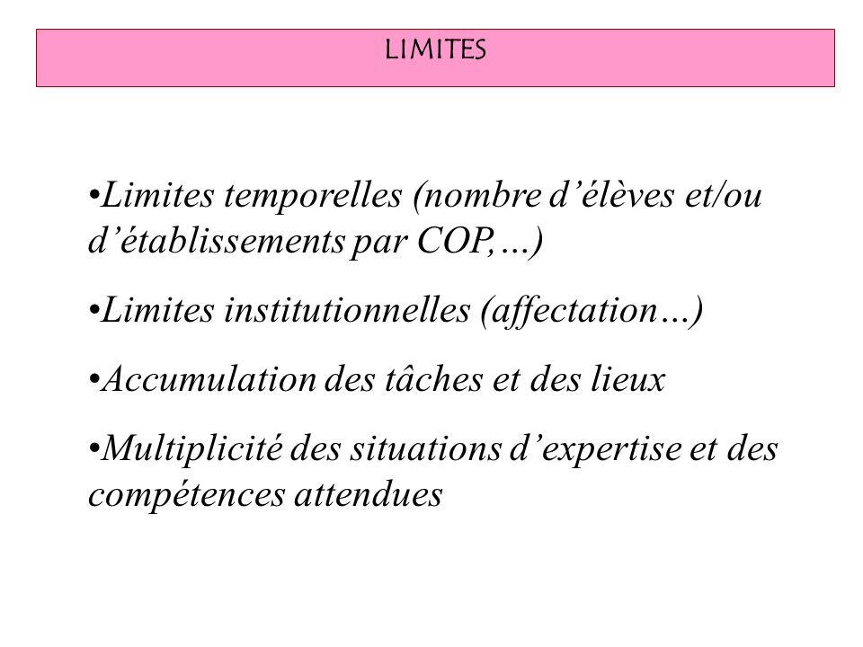 Limites temporelles (nombre d'élèves et/ou d'établissements par COP,…)