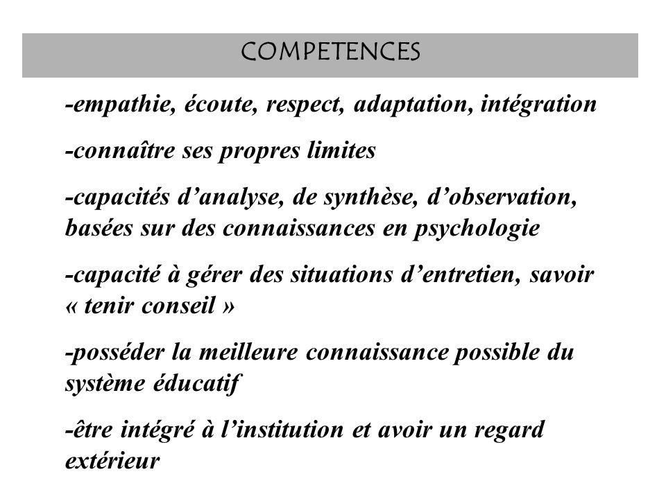 COMPETENCES -empathie, écoute, respect, adaptation, intégration. -connaître ses propres limites.