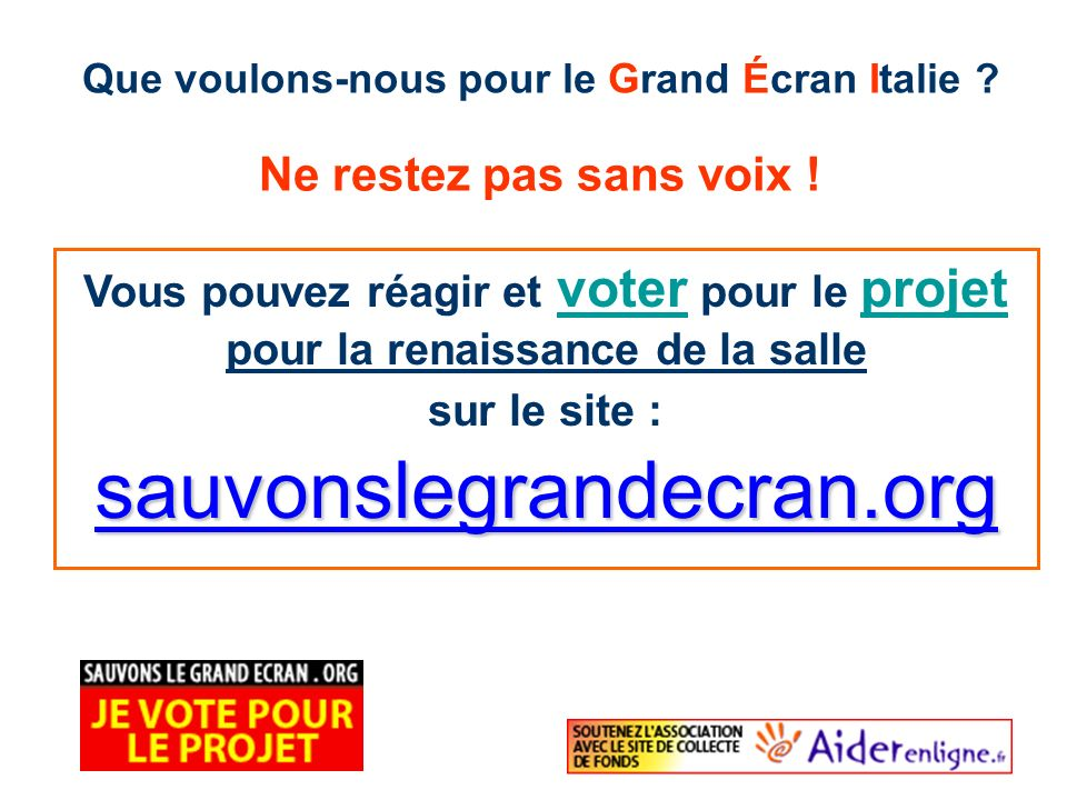 sauvonslegrandecran.org Ne restez pas sans voix !