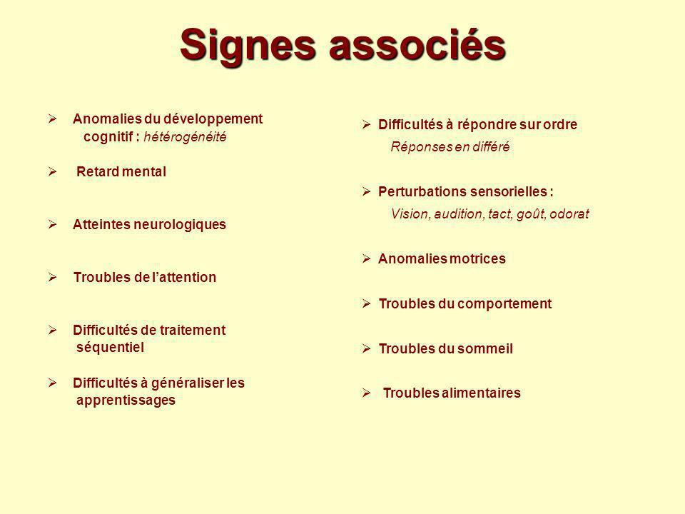 Signes associés Anomalies du développement cognitif : hétérogénéité