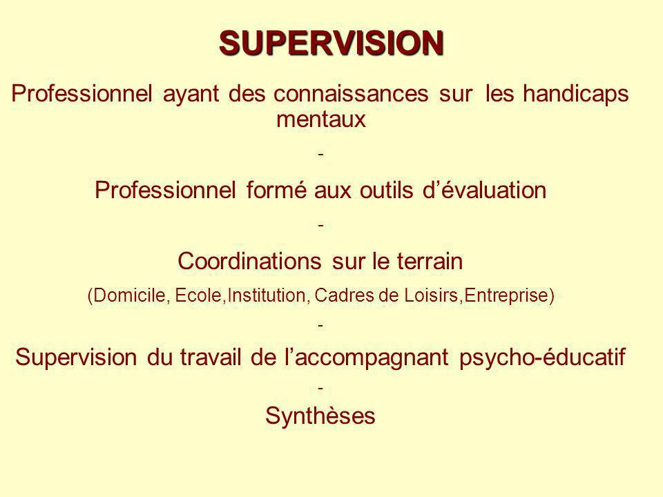 SUPERVISIONProfessionnel ayant des connaissances sur les handicaps mentaux. - Professionnel formé aux outils d'évaluation.
