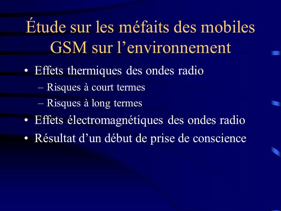 Étude sur les méfaits des mobiles GSM sur l'environnement