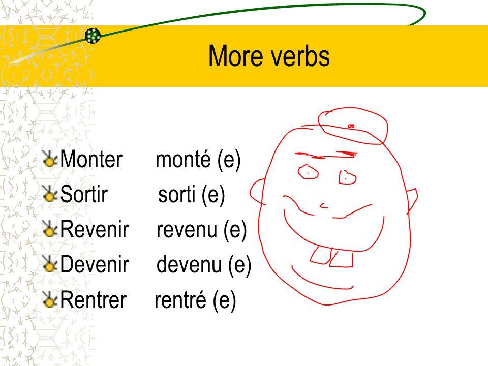 More verbs Monter monté (e) Sortir sorti (e) Revenir revenu (e)