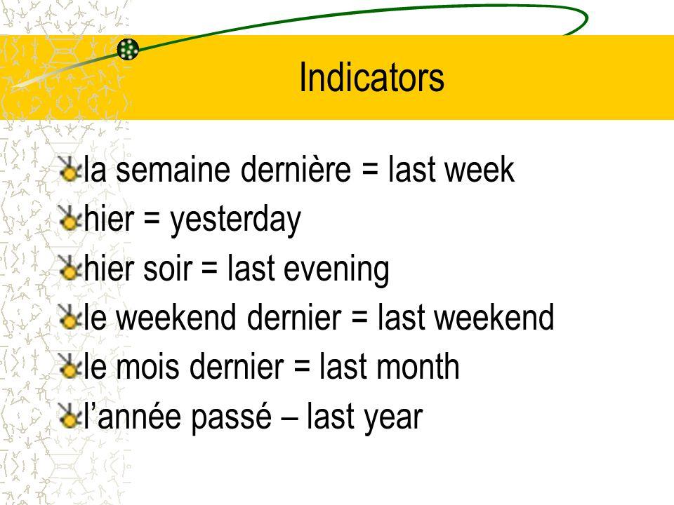 Indicators la semaine dernière = last week hier = yesterday