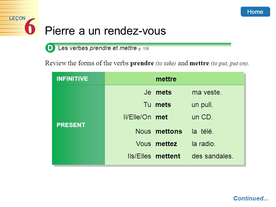 DLes verbes prendre et mettre p. 116. Review the forms of the verbs prendre (to take) and mettre (to put, put on).