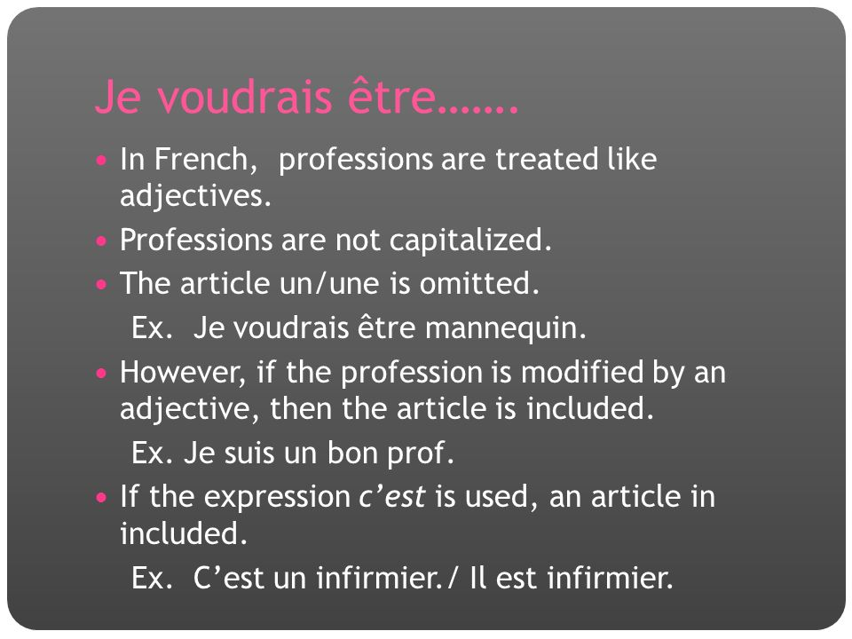 Je voudrais être……. In French, professions are treated like adjectives. Professions are not capitalized.