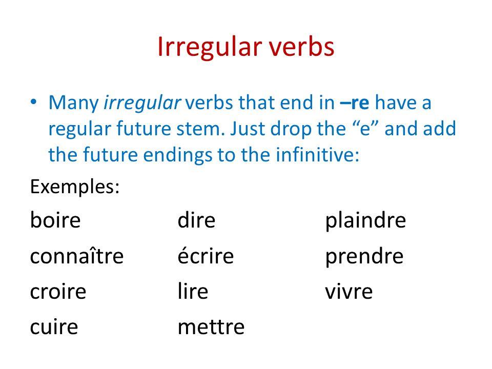 Irregular verbs boire dire plaindre connaître écrire prendre