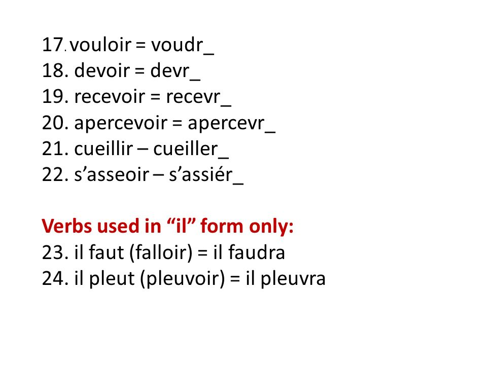 17. vouloir = voudr_ 18. devoir = devr_. 19. recevoir = recevr_. 20. apercevoir = apercevr_. 21. cueillir – cueiller_.