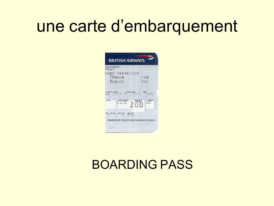 une carte d'embarquement