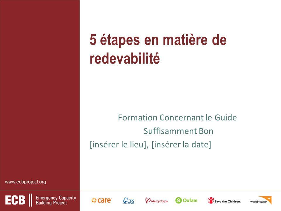 5 étapes en matière de redevabilité