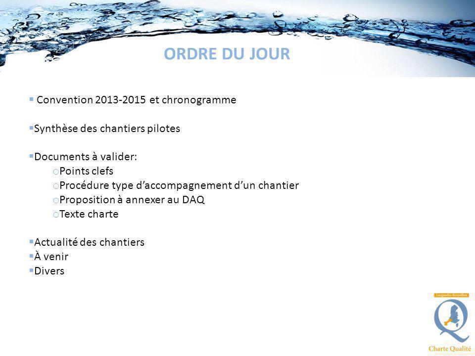 ORDRE DU JOUR Convention 2013-2015 et chronogramme